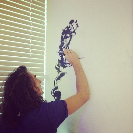 drawing gorilla joe on studio wall september 2013