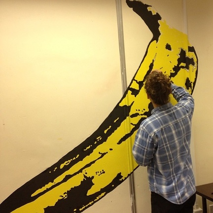 drawing banana on studio wall september 2013